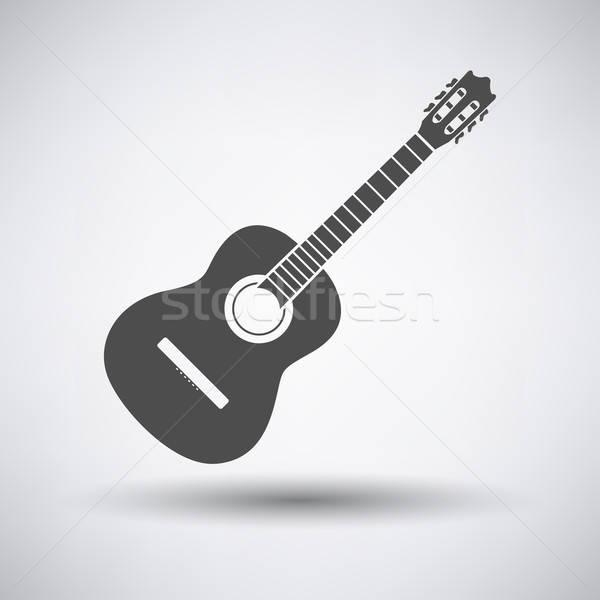 Guitare acoustique icône gris guitare fond web Photo stock © angelp