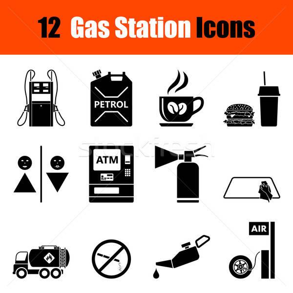 Ingesteld tankstation twaalf zwarte iconen Stockfoto © angelp