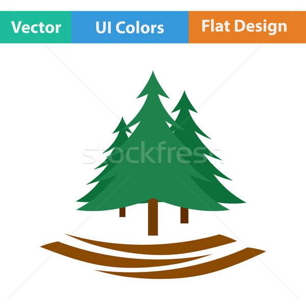Projektu ikona jodła lasu ui kolory Zdjęcia stock © angelp