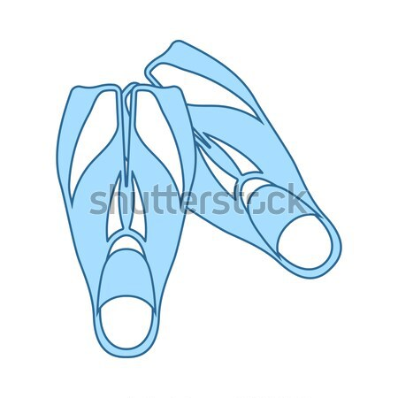 Flat design icon of swimming flippers Stock photo © angelp