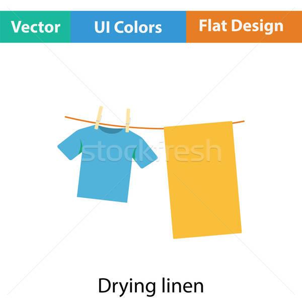 Vászon ikon szín terv szoba fürdőszoba Stock fotó © angelp