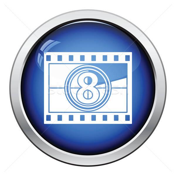 Film ramki odliczanie ikona przycisk Zdjęcia stock © angelp