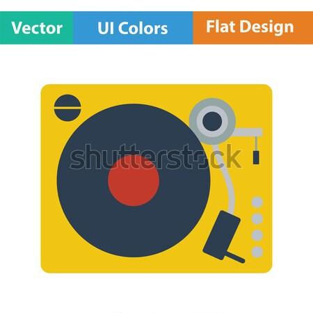 Vinyl speler icon kleur ontwerp disco Stockfoto © angelp