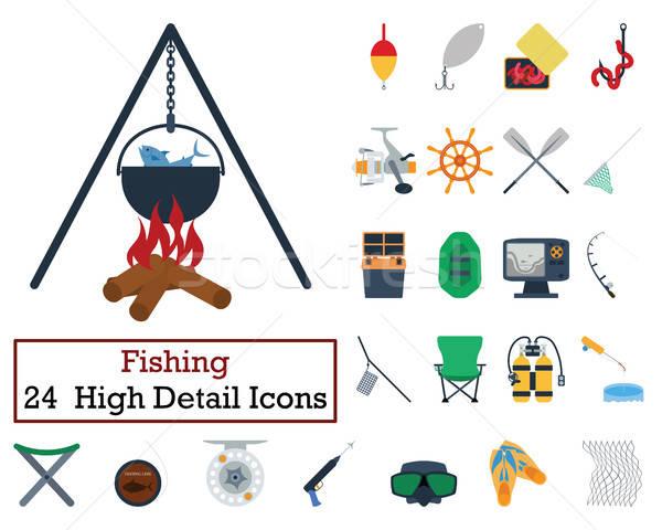 Set of 24 Fishing Icons Stock photo © angelp