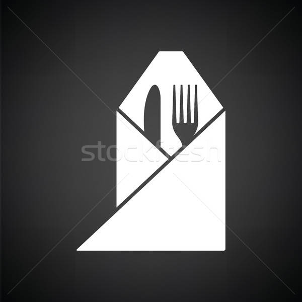 Fork and knife wrapped napkin icon Stock photo © angelp