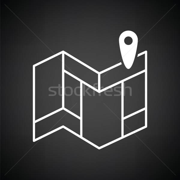 Navegação mapa ícone preto e branco rua fundo Foto stock © angelp
