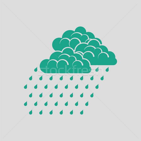 Yağış miktarı ikon gri yeşil bilgisayar su Stok fotoğraf © angelp