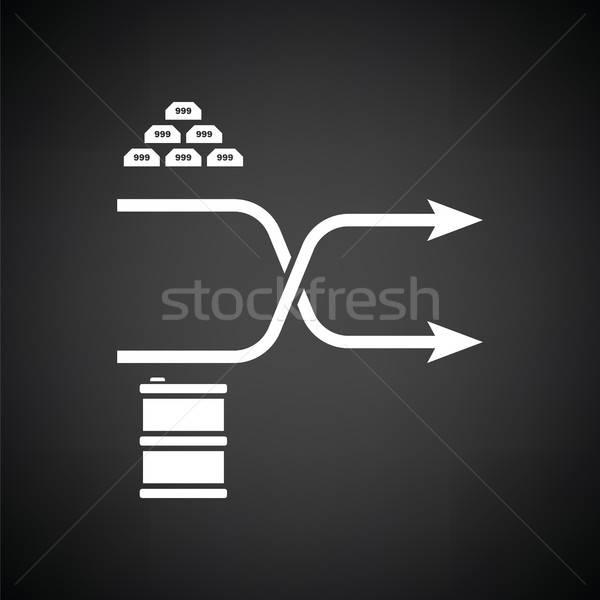 Arany olaj összehasonlítás diagram ikon feketefehér Stock fotó © angelp