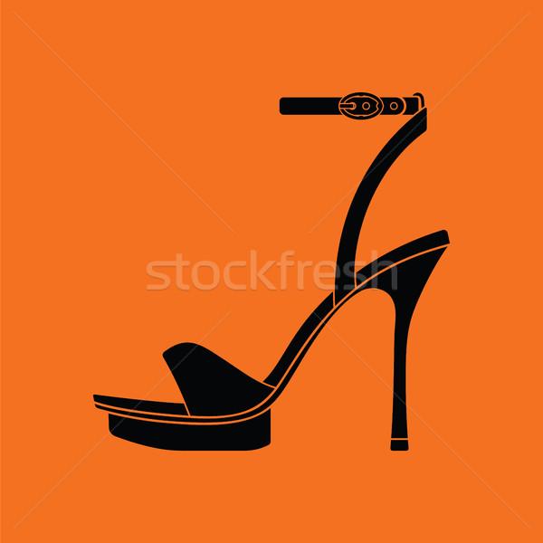 Kobieta ikona pomarańczowy czarny farby Zdjęcia stock © angelp