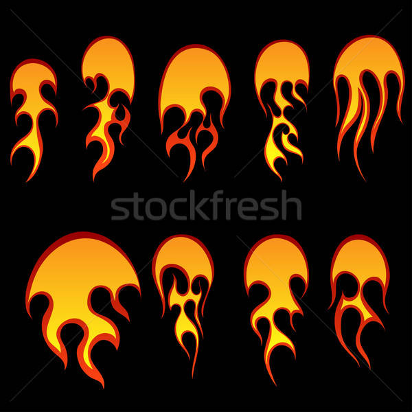 Bolas de fogo conjunto diferente projeto fogo assinar Foto stock © angelp