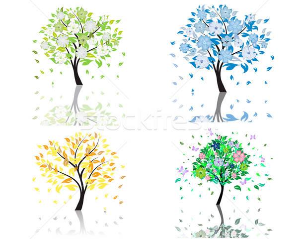Stok fotoğraf: çiçek · ağaç · ayarlamak · güzel · yaz · çiçekler