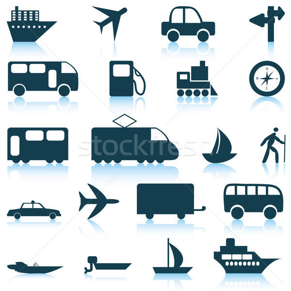 transportation icons set Stock photo © angelp