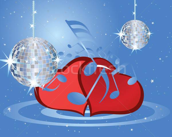 San valentino musica san valentino musicale cuori fuoco Foto d'archivio © angelp
