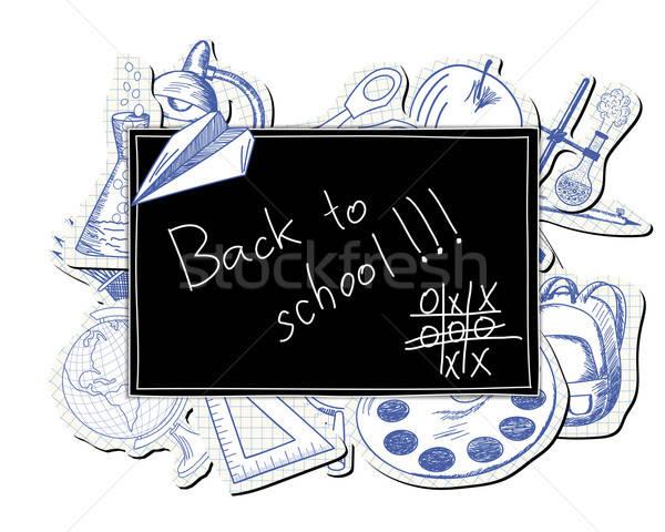 Blackboard with educational symbols Stock photo © angelp