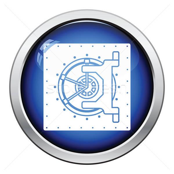 Veilig icon glanzend knop ontwerp business Stockfoto © angelp