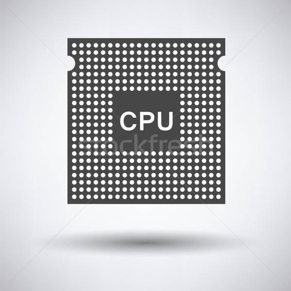 CPU icono gris red web verde Foto stock © angelp