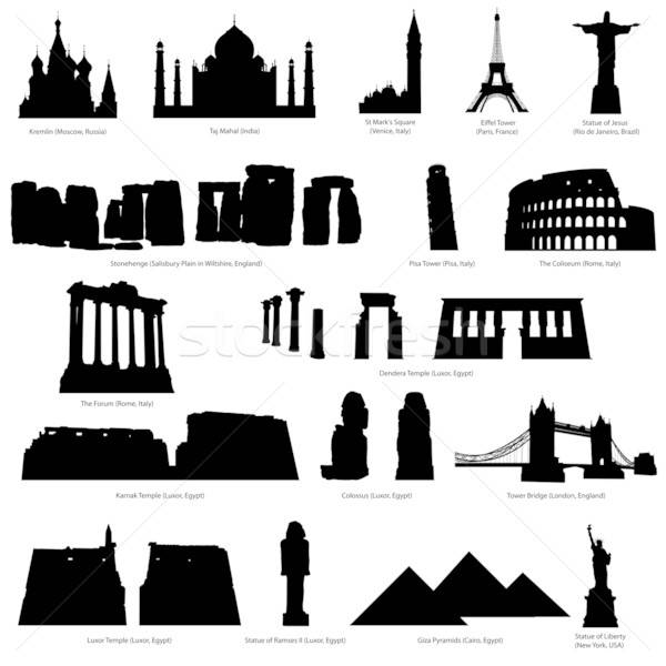 landmarks silhouette set Stock photo © angelp
