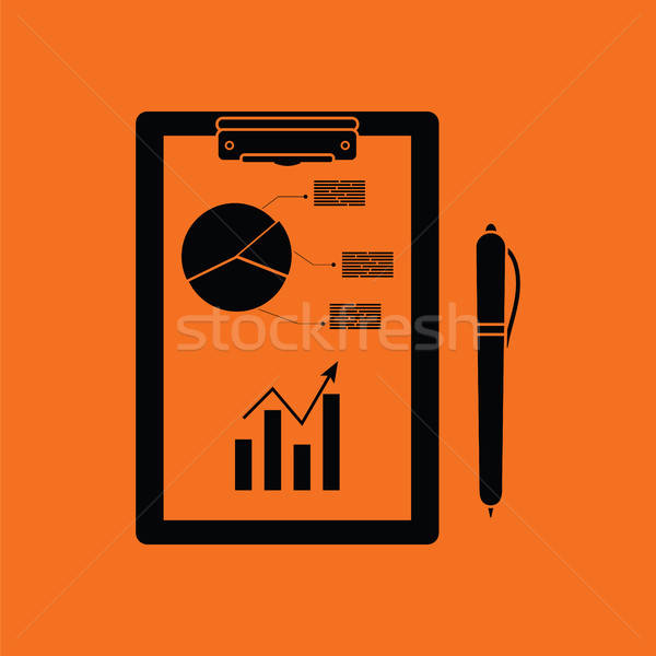 Writing tablet with analytics chart and pen icon Stock photo © angelp