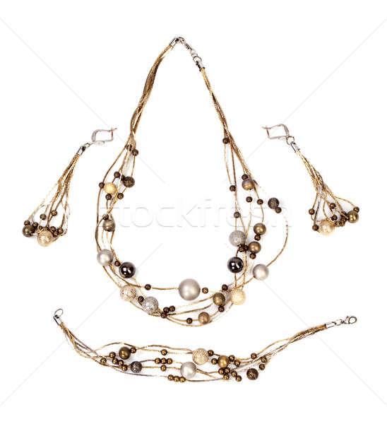 Bijouterie collar hermosa aislado blanco mujer Foto stock © angelp