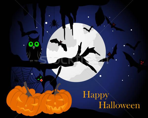 Feliz halloween cartão casa cara gato Foto stock © angelp