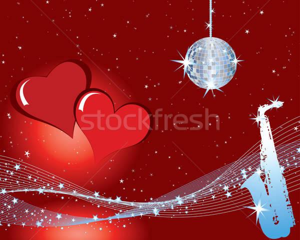 Valentin nap zene Valentin nap musical szívek tűz Stock fotó © angelp