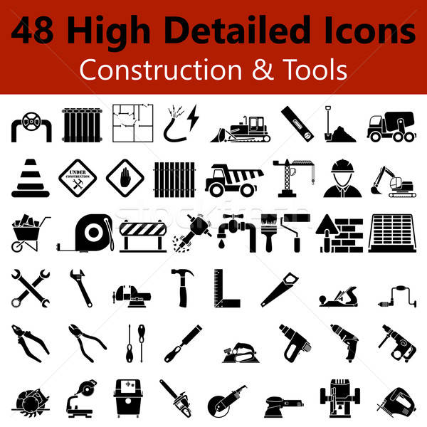 Construction and Tools Smooth Icons Stock photo © angelp