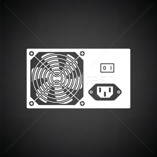 Güç birim ikon siyah beyaz Sunucu Metal Stok fotoğraf © angelp