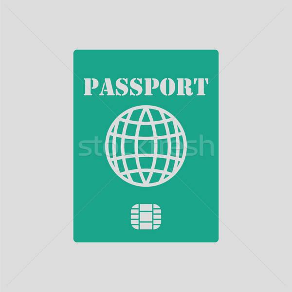 Passport with chip icon Stock photo © angelp