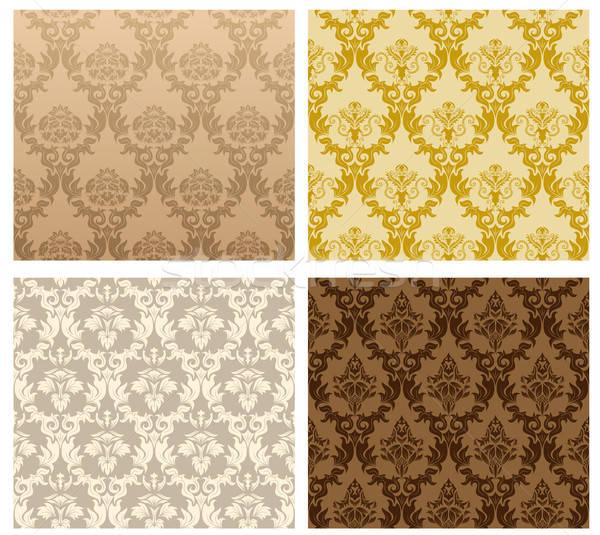 Naadloos damast patroon vector ingesteld gemakkelijk Stockfoto © angelp