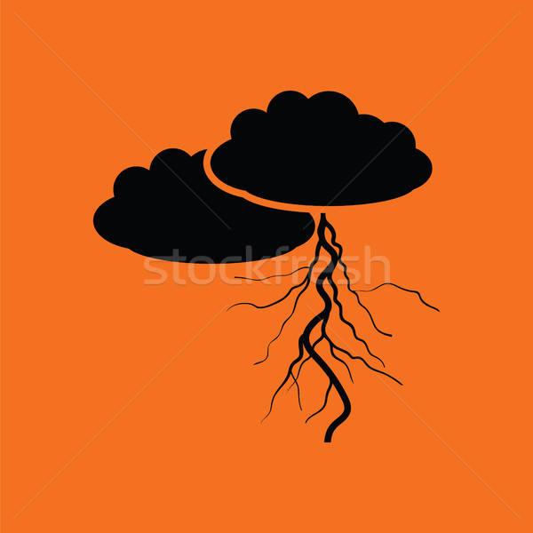 облака Молния икона оранжевый черный свет Сток-фото © angelp