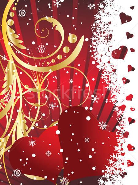 Foto stock: Valentine · cartão · dia · floral · corações · flores