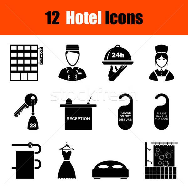 Set hotel dodici nero icone Foto d'archivio © angelp