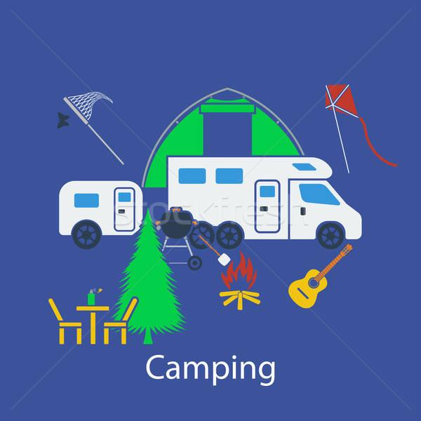 Camping flat design Stock photo © angelp