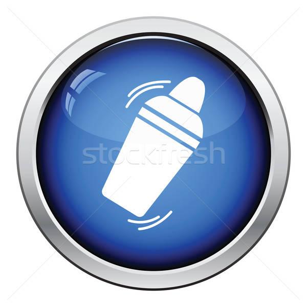 Bár shaker ikon fényes gomb terv Stock fotó © angelp