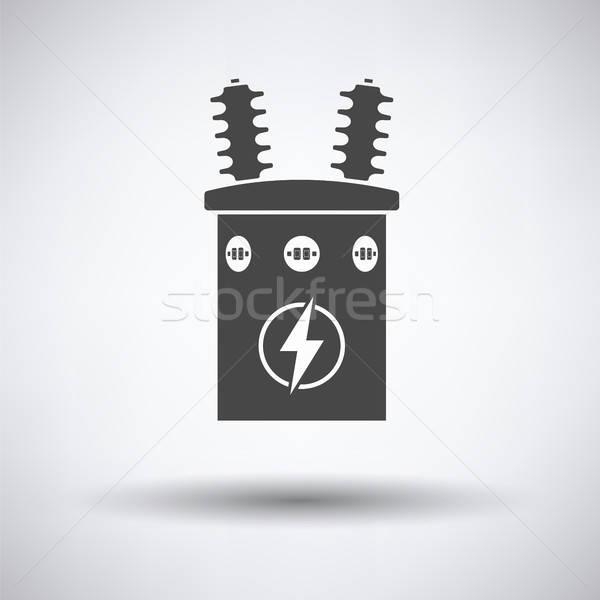 Elektrik transformatör ikon gri arka plan kutu Stok fotoğraf © angelp