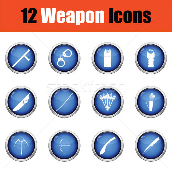 Set of twelve weapon icons.  Stock photo © angelp
