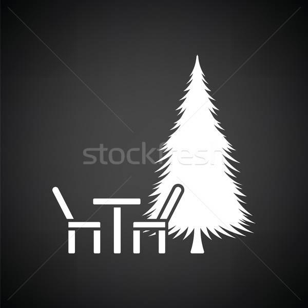 Parque asiento pino icono blanco negro primavera Foto stock © angelp