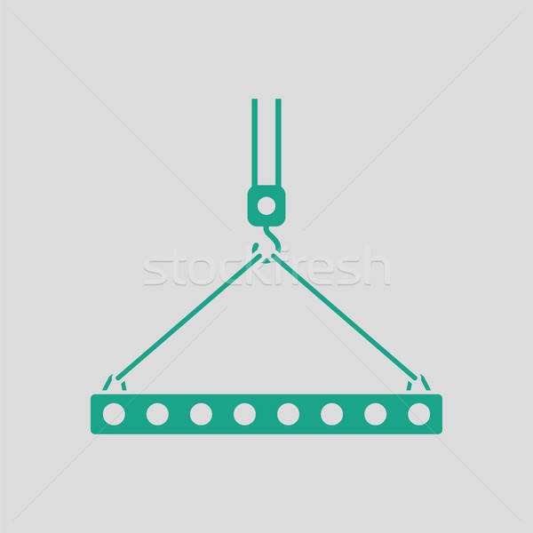 Icon of slab hanged on crane hook by rope slings  Stock photo © angelp
