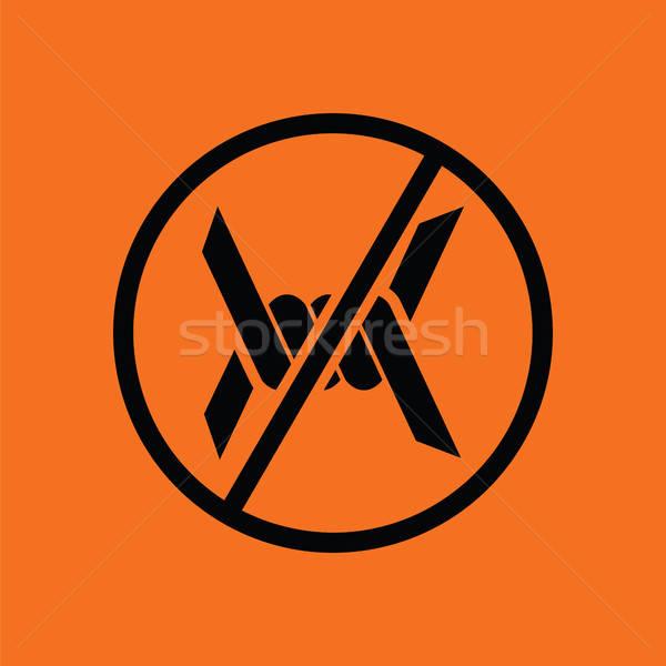 Prikkeldraad icon oranje zwarte textuur oorlog Stockfoto © angelp