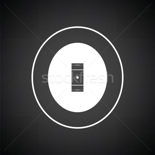 Foto stock: Críquete · campo · ícone · preto · e · branco · fundo · arte