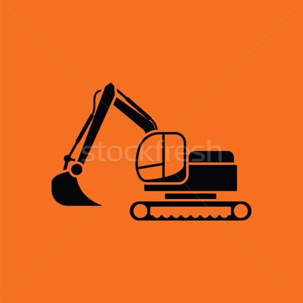 Icône construction pelle orange noir fond Photo stock © angelp