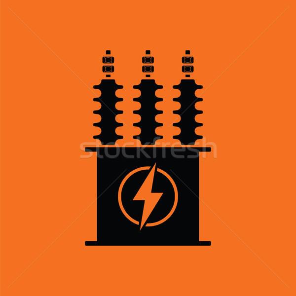 Stock fotó: Elektromos · transzformátor · ikon · narancs · fekete · háttér