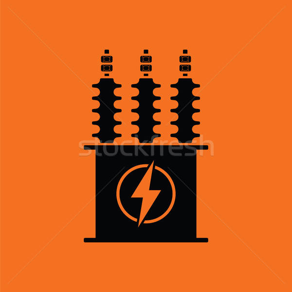 Elétrico transformador ícone laranja preto fundo Foto stock © angelp