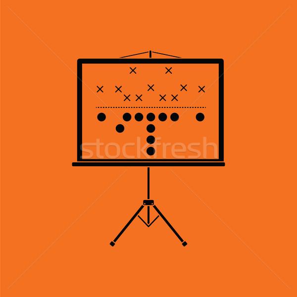 Americano jogo de futebol plano suporte ícone laranja Foto stock © angelp