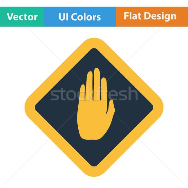 Flat design icon of Warning hand Stock photo © angelp