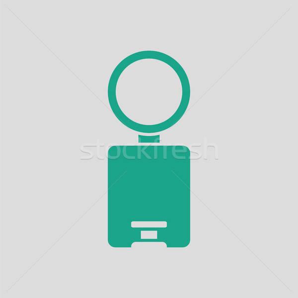 Cesto de lixo ícone cinza verde escritório banheiro Foto stock © angelp