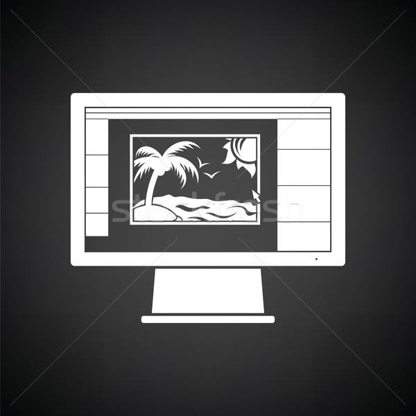 Icono foto editor supervisar Screen blanco negro Foto stock © angelp