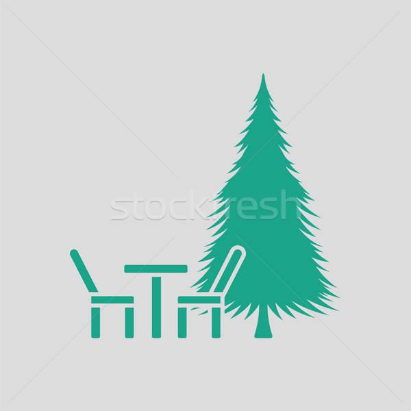 Parco sede pino icona grigio verde Foto d'archivio © angelp