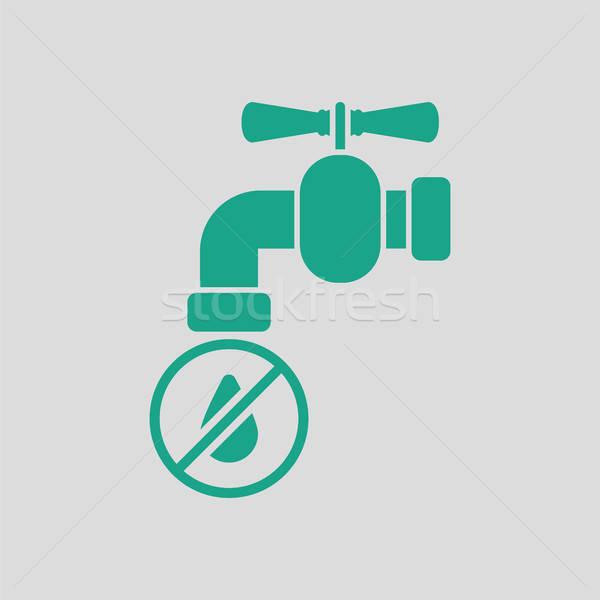Wody kran ikona szary zielone świecie Zdjęcia stock © angelp