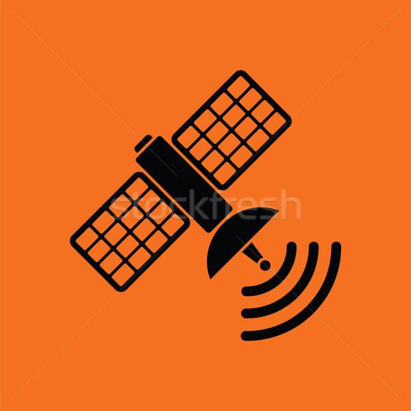 Satélite ícone laranja preto tecnologia ciência Foto stock © angelp